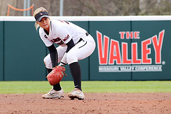 21 April 2018:  Riley Strandgard during a Missouri Valley Conference (MVC) women's softball game between the Drake Bulldogs and the Illinois State Redbirds on Marian Kneer Field in Normal IL