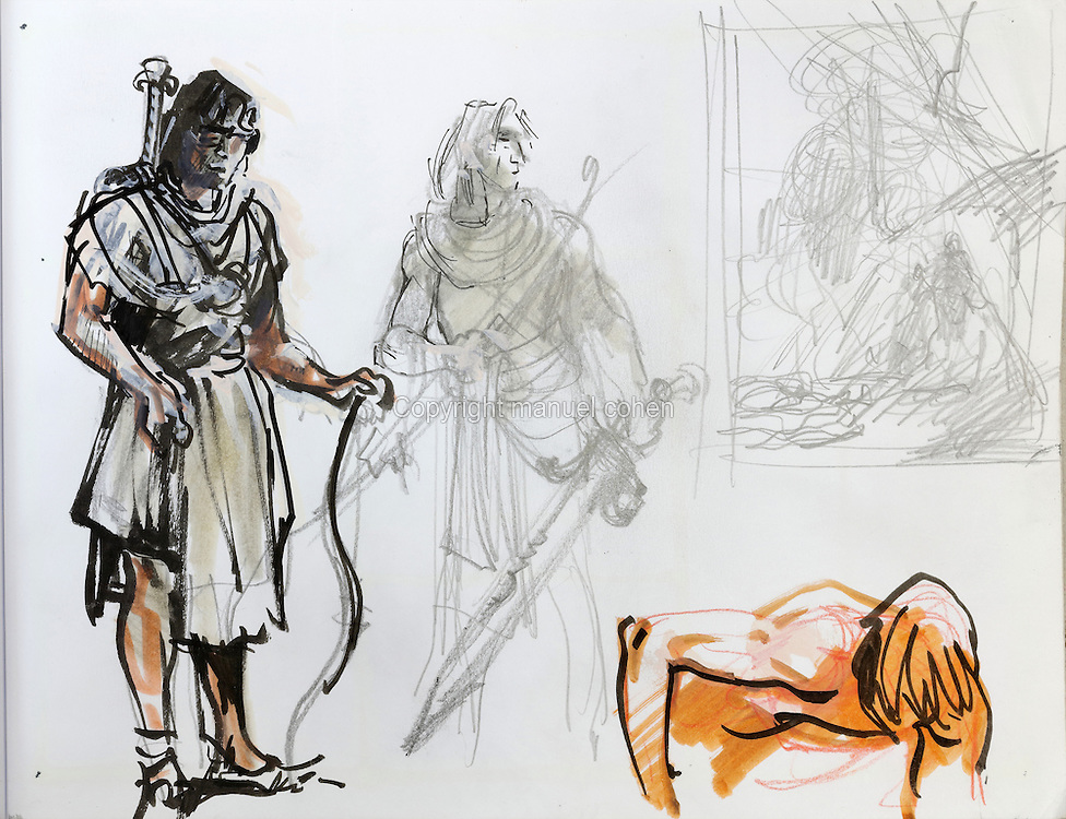 Character sketch of Thorgal from a sketchbook featuring characters, costumes and storyboards for Le Feu Ecarlate or the Scarlet Fire, Series 35 of the Thorgal comic book series, to be published November 2016, by Grzegorz Rosinski, 1941-, Polish comic book artist. Rosinski was born in Stalowa Wola, Poland, and now lives in Switzerland, and is the author and designer of many Polish comic book series. He created Thorgal with Belgian writer Jean Van Hamme. The series was first published in Tintin in 1977 and has been published by Le Lombard since 1980. The stories  cover Norse mythology, Atlantean fantasy, science fiction, horror and adventure genres. Le Feu Ecarlate takes place in Bag Dadh, a city under siege by the Magnus force, where Thorgal must find Aniel and save him from the Red Wizards who made him the reincarnation of their Grand Master Kahaniel. Picture by Manuel Cohen / Further clearances requested, please contact us and/or visit www.lelombard.com
