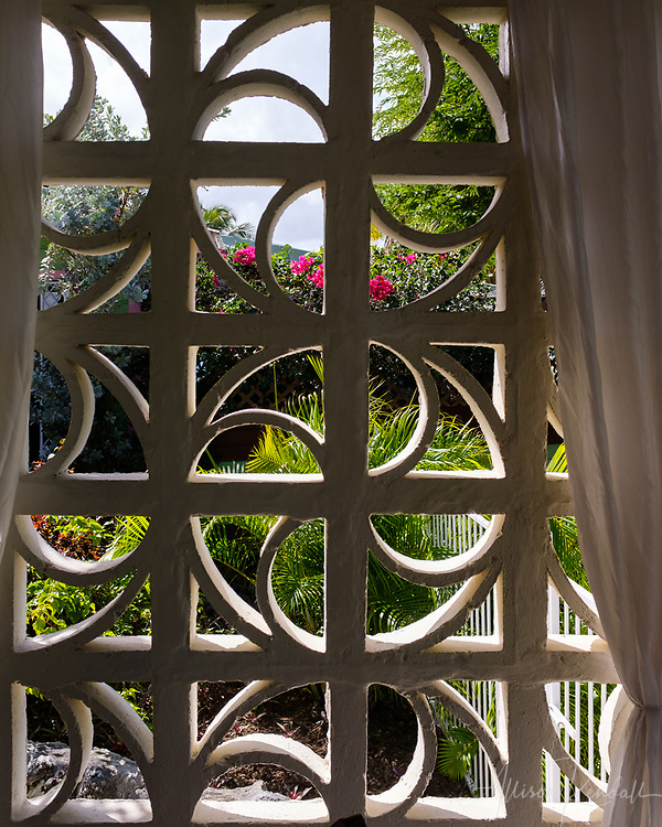 View of veranda windows on the tropical island of Barbados in the Caribbean