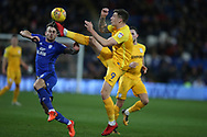 Jordan Hugill of Preston North End (9) gets the ball ahead of Joe Ralls of Cardiff city (l). EFL Skybet championship match, Cardiff city v Preston North End at the Cardiff city stadium in Cardiff, South Wales on Friday 29th December 2017.<br /> pic by Andrew Orchard, Andrew Orchard sports photography.