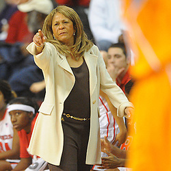 Rutgers Scarlet Knights head coach C. Vivian Stringer gives instructions to her team during first half NCAA Women's Basketball action between the Rutgers Scarlet Knights and Tennessee Lady Volunteers at the Louis Brown Athletic Center. Tennessee leads 33-28 at halftime.