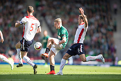 Hibernian's Jason Cummings. <br /> half time : Hibernian 0 v 0  Falkirk, William Hill Scottish Cup semi-final, played 18/4/2015 at Hamden Park, Glasgow.