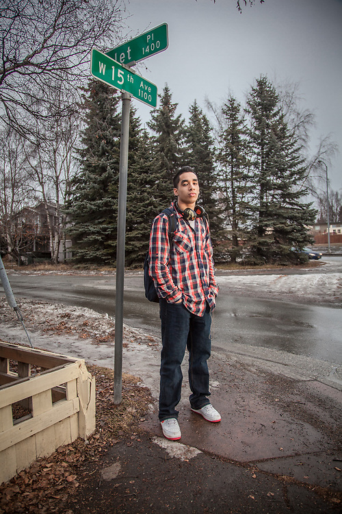 West High student Eniko Sape after school and on his way home, Anchorage.