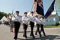 Gilford Fire and Rescue march in the Memorial Day Parade from Gilford Community Church to the cemetery Monday morning.    (Karen Bobotas/for the Laconia Daily Sun)
