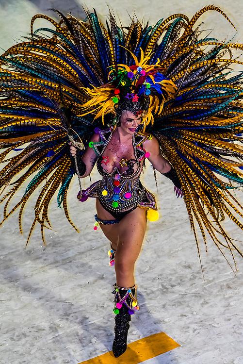 Samba dancer in the Carnaval parade of Unidos da Ponte samba school in the Sambadrome, Rio de Janeiro, Brazil.