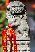 chinese imperial lion statue in the The Jade Buddha Temple Shanghai China