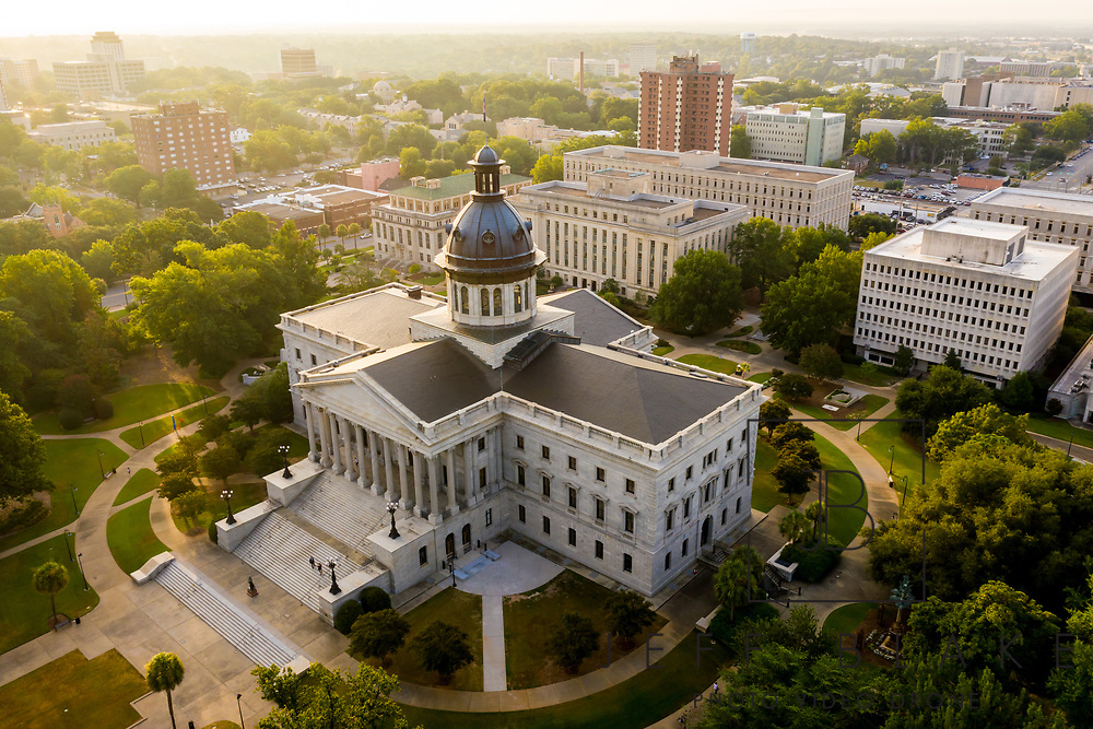 Aerial drone photo of the State House in Columbia, SC, by photographer Jeff Blake, www.JeffBlakePhoto.com
