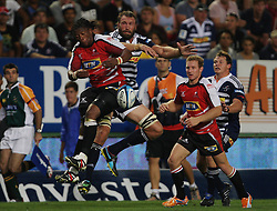 Andries Bekker and Bandise Maku goes up for the up-and-under during the Super Rugby (Super 15) fixture between the DHL Stormers and the Lions held at DHL Newlands Stadium in Cape Town, South Africa on 26 February 2011. Photo by Jacques Rossouw/SPORTZPICS