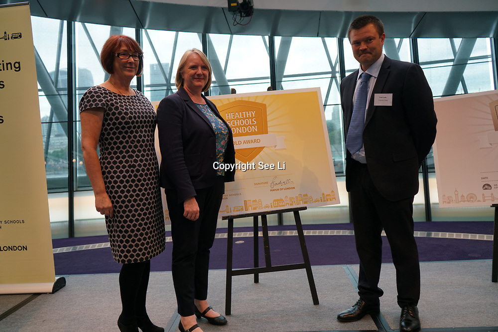 """City Hall, London, Uk, 29th June 2017. Oakthorpe Primary, St Ignatius College  """"Gold Awards"""" of the City Hall awards at the Health and education experts celebrate London's healthiest schools."""