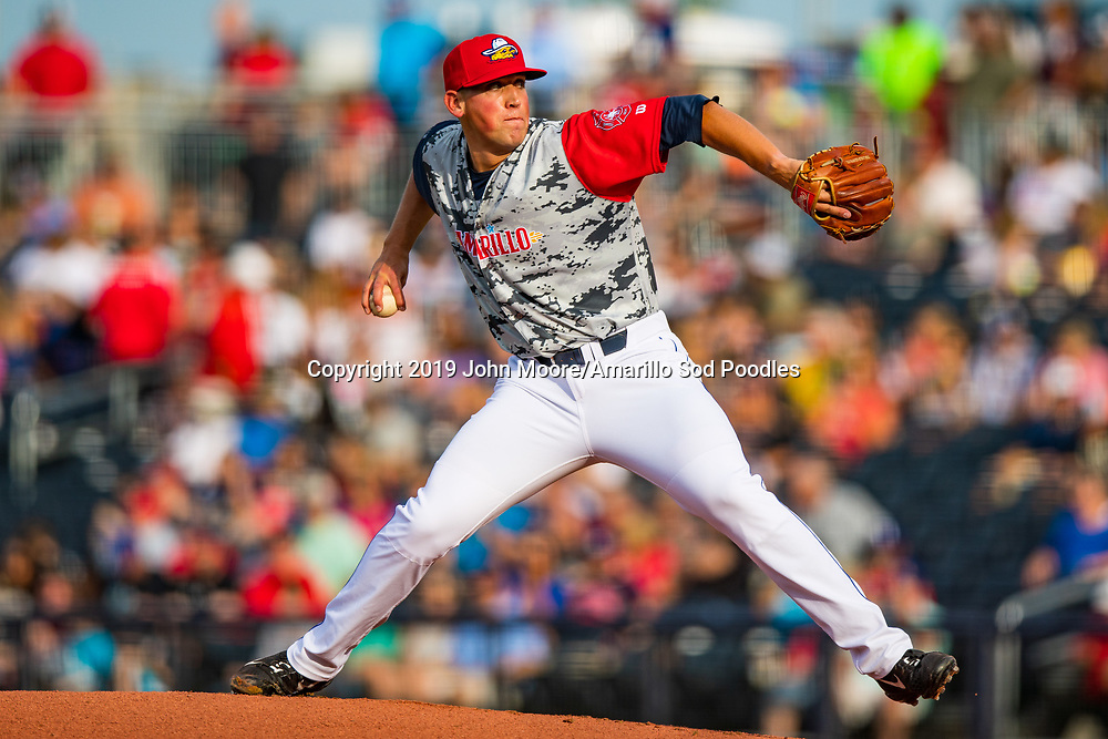 Amarillo Sod Poodles pitcher Kyle Lloyd (29) pitches against the Frisco Rough Riders on Monday, June 3, 2019, at HODGETOWN in Amarillo, Texas. [Photo by John Moore/Amarillo Sod Poodles]