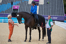 Fassaert Claudia (BEL) and her horse Donnerfee with the owners Mr. and Mrs. Dhooge-Verhoeven<br /> Olympic Games London 2012<br /> © BELGA