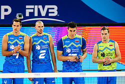 Jan Kozamernik of Slovenia, Alen Pajenk of Slovenia, Klemen Cebulj of Slovenia and Jani Kovacic of Slovenia during volleyball match between Slovenia and Chile in Group A of FIVB Volleyball Challenger Cup Men, on July 3, 2019 in Arena Stozice, Ljubljana, Slovenia. Photo by Matic Klansek Velej / Sportida
