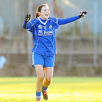 21 November 2010; West Clare Gaels captain Michelle Downes celebrates at the final whistle after victory over St Conleth's, Laois. Tesco All-Ireland Intermediate Ladies Football Club Championship Final, West Clare Gaels, Clare v St Conleth's, Laois, McDonagh Park, Nenagh, Co. Tipperary. Picture credit: Diarmuid Greene / SPORTSFILE *** NO REPRODUCTION FEE ***