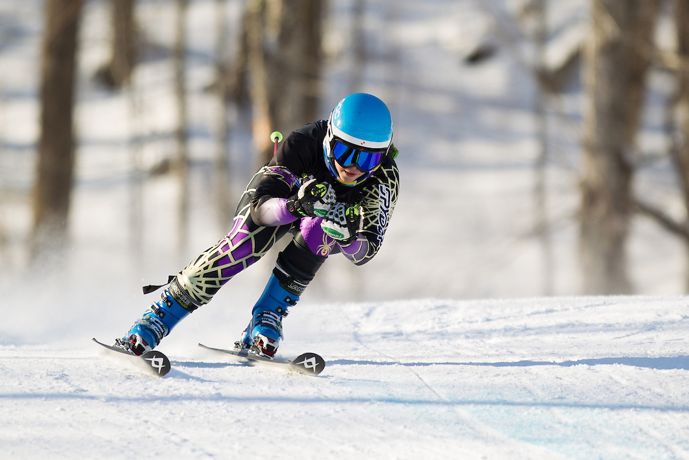 Willow Smith of Saint Michael's College, skis during the first run of the women's giant slalom at the Dartmouth Carnival at Dartmouth Skiway on February 7, 2014 in Lyme, NH. (Dustin Satloff/EISA)