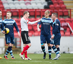 Clyde's Chris Smith argues with Forfar Athletic's David Cox. Clyde 2 v 2 Forfar Athletic, Scottish League Two game played 4/3/2017 at Clyde's home ground, Broadwood Stadium, Cumbernauld.