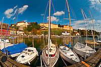 Harbor at the medieval city of Meersburg on Lake Constance (Bodensee), Baden-Württemberg, Germany
