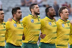 February 17, 2017 - Auckland, New Zealand - South Africa anthem during international Twenty20 cricket match between South Africa and New Zealand in Auckland, New Zealand on Feb 17. (Credit Image: © Shirley Kwok/Pacific Press via ZUMA Wire)