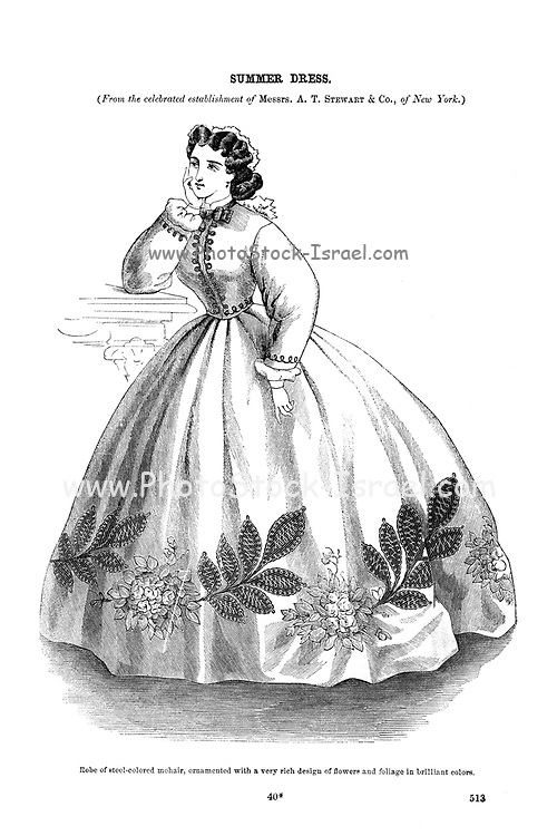 Summer Dress Godey's Fashion for summer 1864 from Godey's Lady's Book and Magazine, June 1864, Philadelphia, Louis A. Godey, Sarah Josepha Hale,
