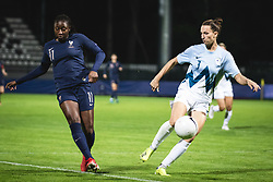 Kadidiatou Diani of France and Sara Agrez of Slovenia during football match between Slovenia and France in 2nd round of Women's world cup 2023 Qualifying round on 21 of September, 2021 in Mestni stadion Fazanerija, Murska Sobota, Slovenia. Photo by Blaž Weindorfer / Sportida