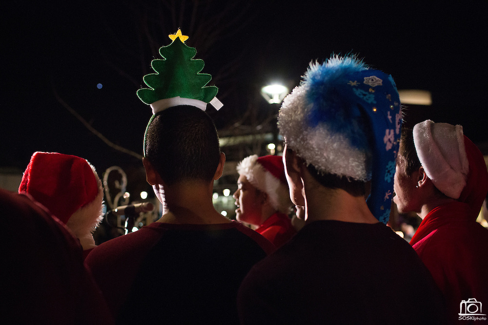 The Milpitas High School Glee Club performs during the Milpitas Christmas Tree Lighting Ceremony at Milpitas City Hall, in Milpitas, California, on December 1, 2013. (Stan Olszewski/SOSKIphoto)