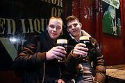 31/12/14 Francois Irvoas and Jerome Delaitre, Nante, France, enjoying New Years Eve celebrations in Temple Bar, Dublin. Picture:Arthur Carron