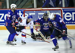 Ales Kranjc of Slovenia (28), Andrej Podkonicky of Slovakia, Goalkeeper of Slovenia Andrej Hocevar and Jakob Milovanovic (51) of Slovenia at ice-hockey game Slovenia vs Slovakia at second game in  Relegation  Round (group G) of IIHF WC 2008 in Halifax, on May 10, 2008 in Metro Center, Halifax, Nova Scotia, Canada. Slovakia won after penalty shots 4:3.  (Photo by Vid Ponikvar / Sportal Images)