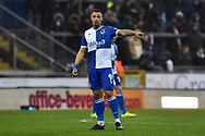 Jonson Clarke-Harris (9) of Bristol Rovers during the EFL Sky Bet League 1 match between Bristol Rovers and Blackpool at the Memorial Stadium, Bristol, England on 15 February 2020.