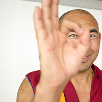 Buddhist monk Geshe Lobsang Yonten photographed in Chicago by Chicago portrait photographer Wayne Cable for the Chicago Poetry Center.