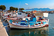 Local fishing boats in the port of Aegina, Greek Saronic Islands .<br /> <br /> If you prefer to buy from our ALAMY PHOTO LIBRARY  Collection visit : https://www.alamy.com/portfolio/paul-williams-funkystock/aegina-greece.html <br /> <br /> Visit our GREECE PHOTO COLLECTIONS for more photos to download or buy as wall art prints https://funkystock.photoshelter.com/gallery-collection/Pictures-Images-of-Greece-Photos-of-Greek-Historic-Landmark-Sites/C0000w6e8OkknEb8