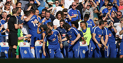 May 6, 2018 - London, Greater London, United Kingdom - Olivier Giroud of Chelsea celebrates scoring a goal with David Luiz on the subs bench during English Premier League match between Chelsea and Liverpool at Stamford Bridge, London, England on 6 May 2018. (Credit Image: © Kieran Galvin/NurPhoto via ZUMA Press)