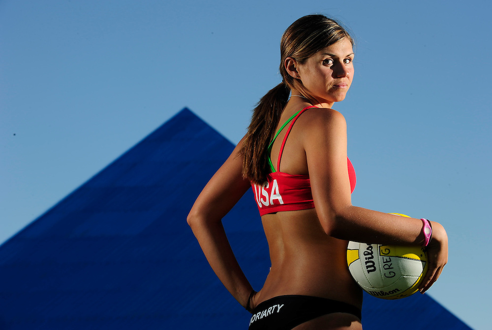 AVP volleyball player Michelle Moriarty, 23, of Hermosa Beach, California, poses for a portrait at the Long Beach State sand volleyball court on April 8, 2010, in Long Beach, California.