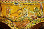 Medieval Byzantine mosaics of Abraham about to sacrifice  Ishmael, Monreale Cathedral, Sicily .<br /> <br /> If you prefer you can also buy from our ALAMY PHOTO LIBRARY  Collection visit : https://www.alamy.com/portfolio/paul-williams-funkystock/monrealeduomomosaics.html. Refine search by adding subject etc  into the LOWER SEARCH WITHIN GALLERY box. <br /> <br /> Visit our BYZANTINE MOSAIC PHOTO COLLECTION for more   photos  to download or buy as prints https://funkystock.photoshelter.com/gallery-collection/Roman-Byzantine-Art-Artefacts-Antiquities-Historic-Sites-Pictures-Images-of/C0000lW_87AclrOk