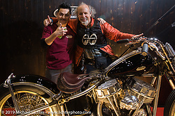 Michael Lichter with the recipient of the Harley-Davidson award at the Annual Mooneyes Yokohama Hot Rod and Custom Show. Japan. Sunday, December 7, 2014. Photograph ©2014 Michael Lichter.