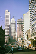 CBD buildings and roads downtown city centre of Sao Paulo, Brazil, South America 1962 - Altino Arantes or Banespa building in background built 1940s