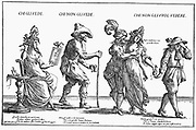 Prostitute grooming herself, left. Pimp (right) takes purse of money from lady of the town entertaining a gallant. 17th century Italian engraving.