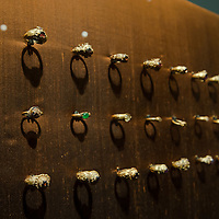 Golden rings are on display in the Southeast Gold Museum that presents hundreds of golden artifacts from the private collection of founder Istvan Zelnik in Budapest, Hungary on September 15, 2011. ATTILA VOLGYI