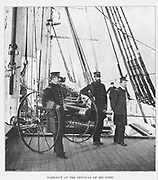 """Commander David Glasgow Farragut and Captain Percival Draytonr chief of staff, stand on the deck of the """"Hartford,"""" after the victory in Mobile Bay, of August, 1864. from the book ' The Civil war through the camera ' hundreds of vivid photographs actually taken in Civil war times, sixteen reproductions in color of famous war paintings. The new text history by Henry W. Elson. A. complete illustrated history of the Civil war"""