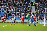 Middlesbrough FC striker Enrique Garcia opens the scoring 0-1 and celebrates during the Sky Bet Championship match between Brighton and Hove Albion and Middlesbrough at the American Express Community Stadium, Brighton and Hove, England on 19 December 2015. Photo by Phil Duncan.