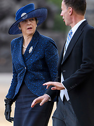 © Licensed to London News Pictures. 23/10/2018. London, UK. Prime Minister THERESA MAY and Foreign Secretary JEREMY HUNT attend a ceremony on Horse Guards Parade in London for the arrival of King Willem-Alexander and Queen Maxima of the Netherlands as part of a state visit to the UK. Photo credit: Ben Cawthra/LNP