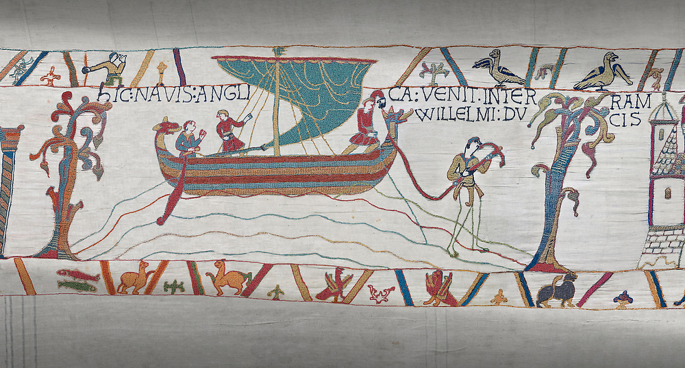 Bayeux Tapestry scene 34:  Messengers sail from England to tell Duke William of Harold's corination. .<br /> <br /> If you prefer you can also buy from our ALAMY PHOTO LIBRARY  Collection visit : https://www.alamy.com/portfolio/paul-williams-funkystock/bayeux-tapestry-medieval-art.html  if you know the scene number you want enter BXY followed bt the scene no into the SEARCH WITHIN GALLERY box  i.e BYX 22 for scene 22)<br /> <br />  Visit our MEDIEVAL ART PHOTO COLLECTIONS for more   photos  to download or buy as prints https://funkystock.photoshelter.com/gallery-collection/Medieval-Middle-Ages-Art-Artefacts-Antiquities-Pictures-Images-of/C0000YpKXiAHnG2k