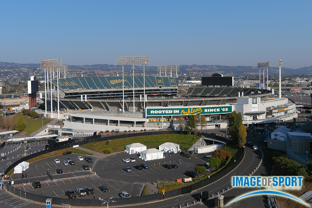 A general view of the Oakland-Alameda County Coliseum, Monday, Sept. 28, 2020, in Oakland, Calif. The stadium, opened in 1966, is the home of the Oakland Athletics and the Oakland Raiders from 1966-81 and 1995-2019.
