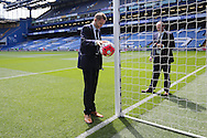 Referee Craig Pawson testing Hawkeye on one of the goal lines before k/o. Barclays Premier league match, Chelsea v Leicester city at Stamford Bridge in London on Sunday 15th May 2016.<br /> pic by John Patrick Fletcher, Andrew Orchard sports photography.