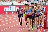 Sir Mo Farah (GBR) comes on the outside in the 3000m men during the Muller Anniversary Games at the London Stadium, London, England on 9 July 2017. Photo by Jon Bromley.