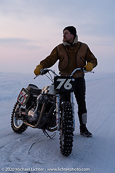 Moscow photographer Aleksei Kalabin with his Kawasaki w650 racer at the Baikal Mile Ice Speed Festival. Maksimiha, Siberia, Russia. Thursday, February 27, 2020. Photography ©2020 Michael Lichter.