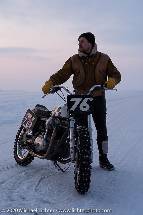 Moscow photographer Aleksei Kalabin with his Kawasaki w650 racer at the Baikal Mile Ice Speed Festival. Maksimiha, Siberia, Russia. Thursday, February 27, 2020. Photography ©2020 Michael Lichter.