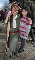 Enid Monaghan, from Clondalkin, dressed as a member of Cumann na Mban with Ruth Carberry, 6, from New Ross in St Stephens green, Dublin as part of RTE's reflecting the rising celebrations. Picture credit; Damien Eagers 28/3/2016