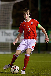 BALA, WALES - Tuesday, February 21, 2017: Wales' captain Jack Rimmer in action against Republic of Ireland during an Under-18 International Friendly match at Maes Tegid. (Pic by Paul Greenwood/Propaganda)