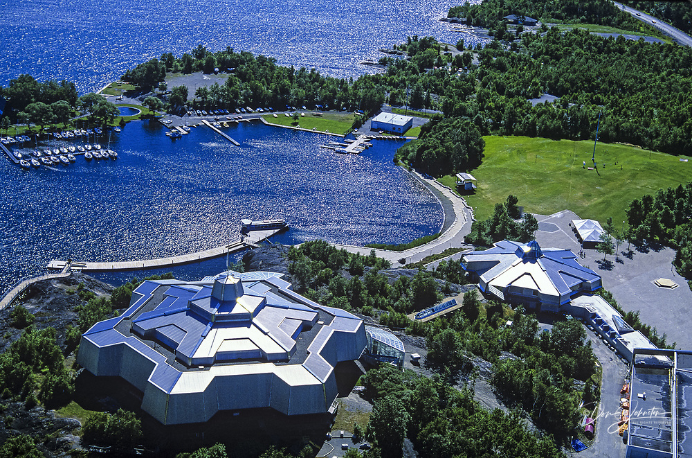 Aerial view of df Science North 'Snowflake' building on the shore of Lake Ramsey