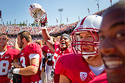 Stanford's Cole Underwood (50) celebrates a fumble return by Henry Anderson (91) against San Jose State at Stanford University in Palo Alto, Calif., Sept. 3, 2011.  Quaterback Andrew Luck and the Cardinals proved to be too much for the Spartans to handle, winning 57-3. (Spartan Daily/Stan Olszewski)