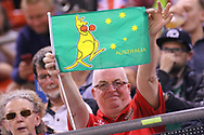 A fan displays an Australian themed flag during the 2019 Adrian Flux British FIM Speedway Grand Prix at the Principality Stadium, Cardiff, Wales on 21 September 2019.